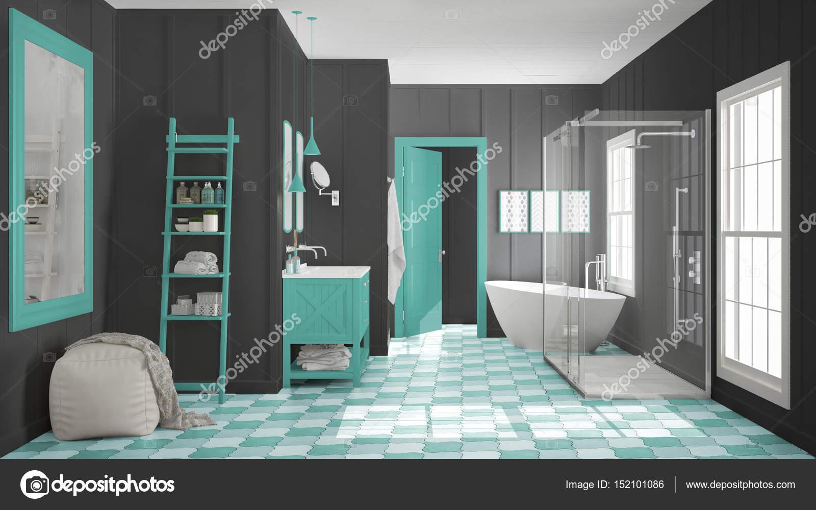 Scandinave minimaliste blanc, gris et et salle de bain turquoise ...