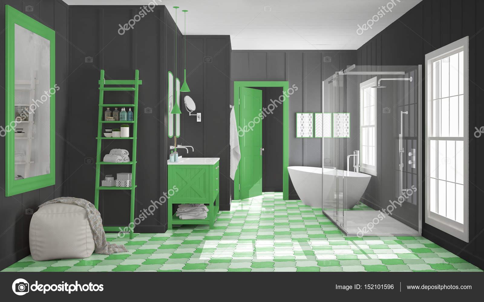 Skandinavisk minimalistisk vit, grå och gröna badrum, dusch ...
