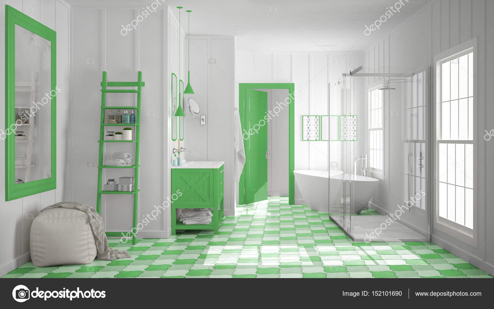 Scandinavian Minimalist White And Green Bathroom Shower Bathtub Decors Classic Vintage Interior Design Photo By ArchiVIz