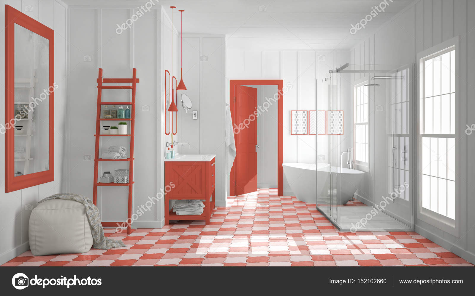 Scandinavische minimalistische witte en rode badkamer douche