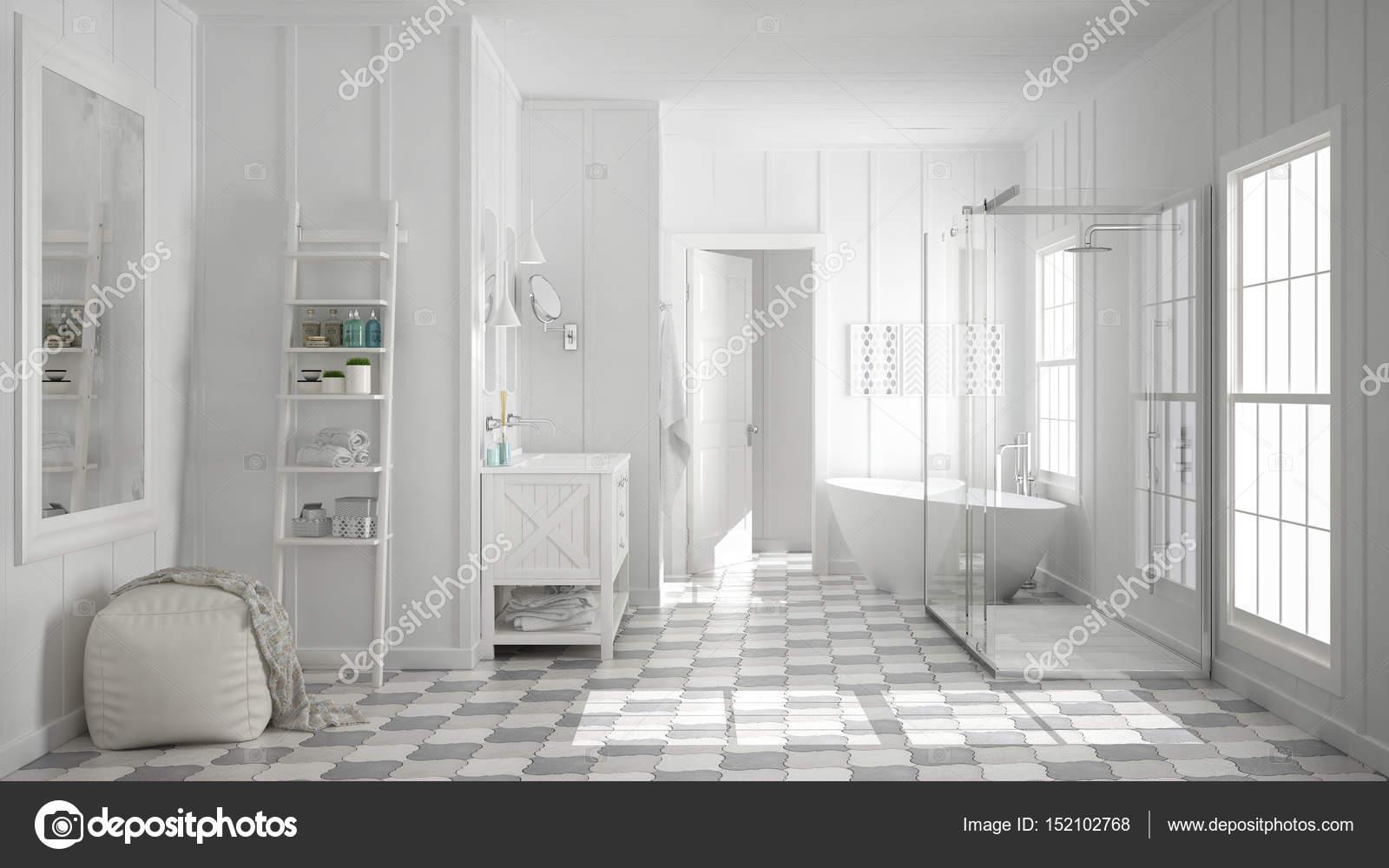Skandinavische minimalistische weiße Badezimmer, Dusche, Badewanne ...