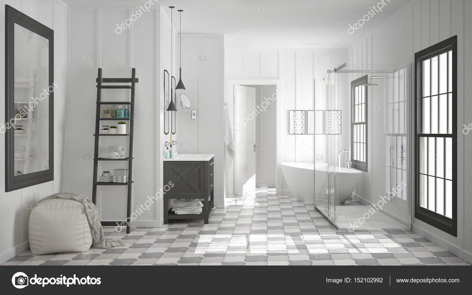 Scandinavo minimalista bianco e grigio bagno doccia vasca da