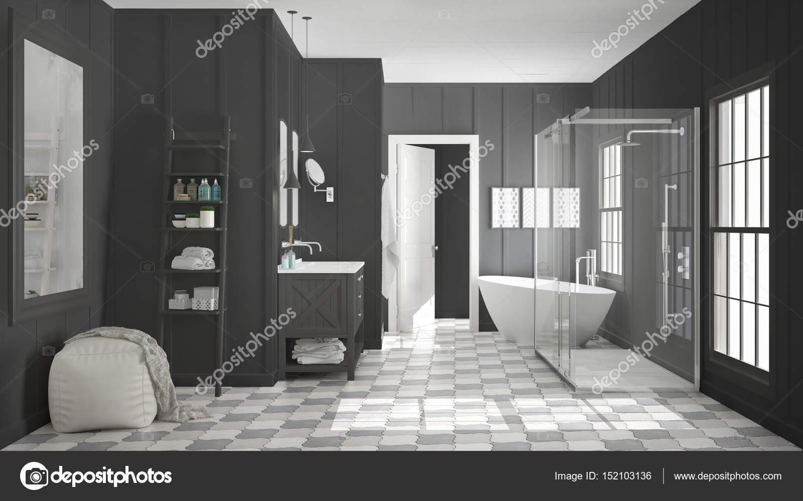 Skandinavische minimalistische weiße und graue Bad, Dusche ...