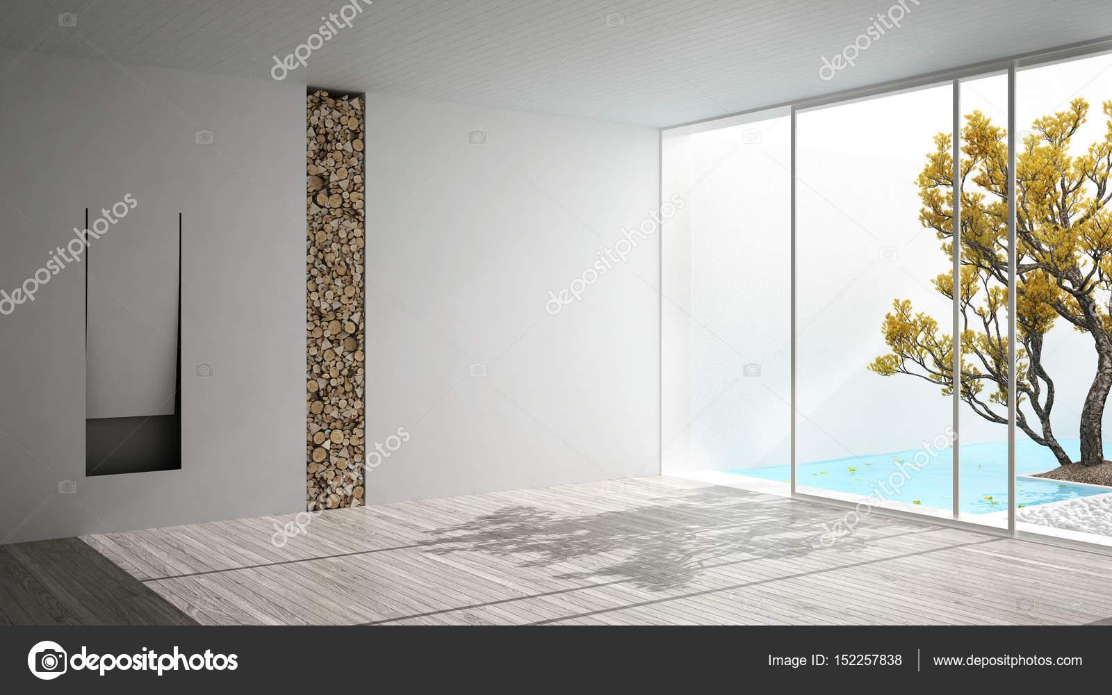 Kamer met open haard en groot panoramisch venster op tuin leeg en