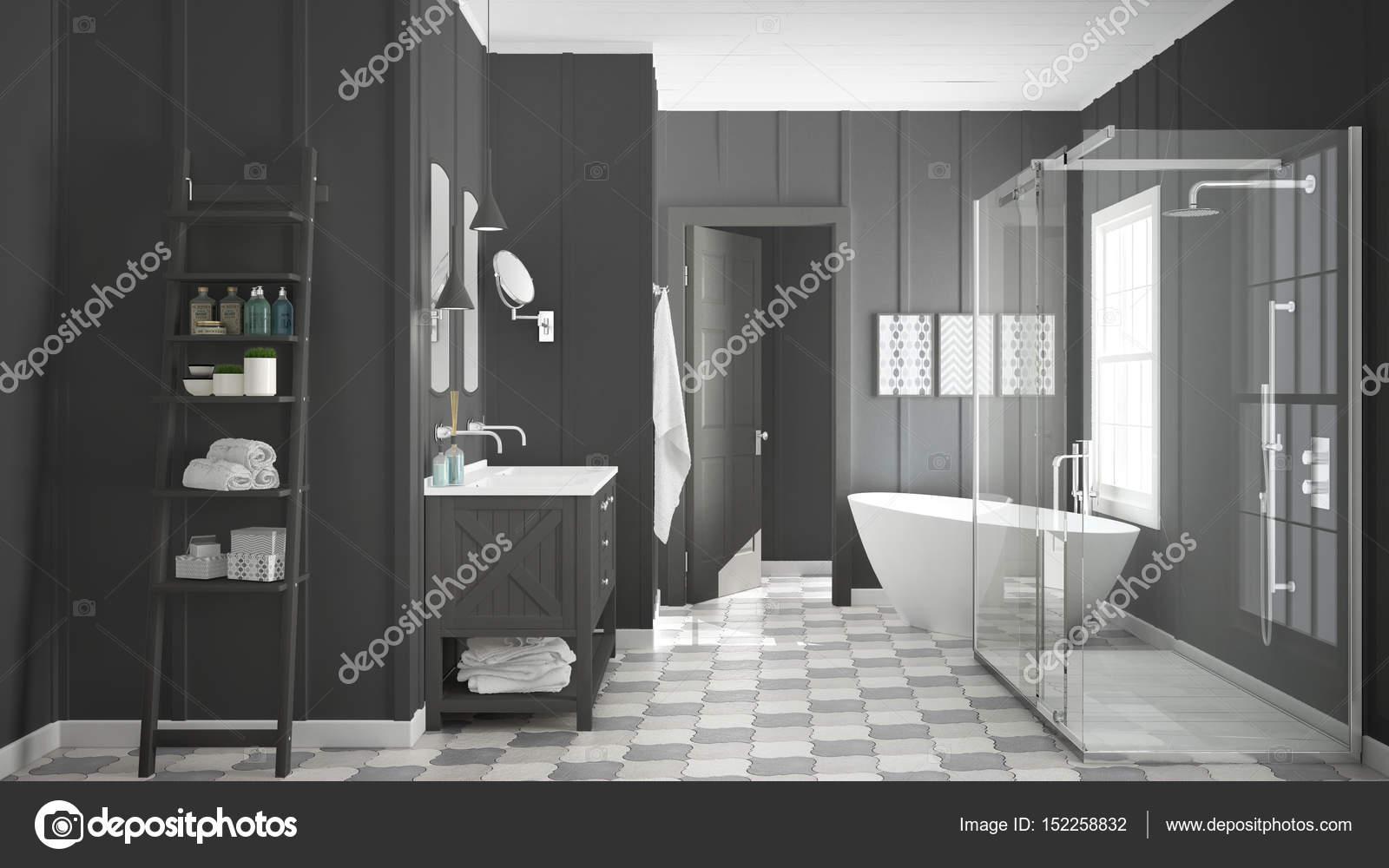 Skandinavische Minimalistische Weiße Und Graue Bad, Dusche, Badewanne U2014  Stockfoto