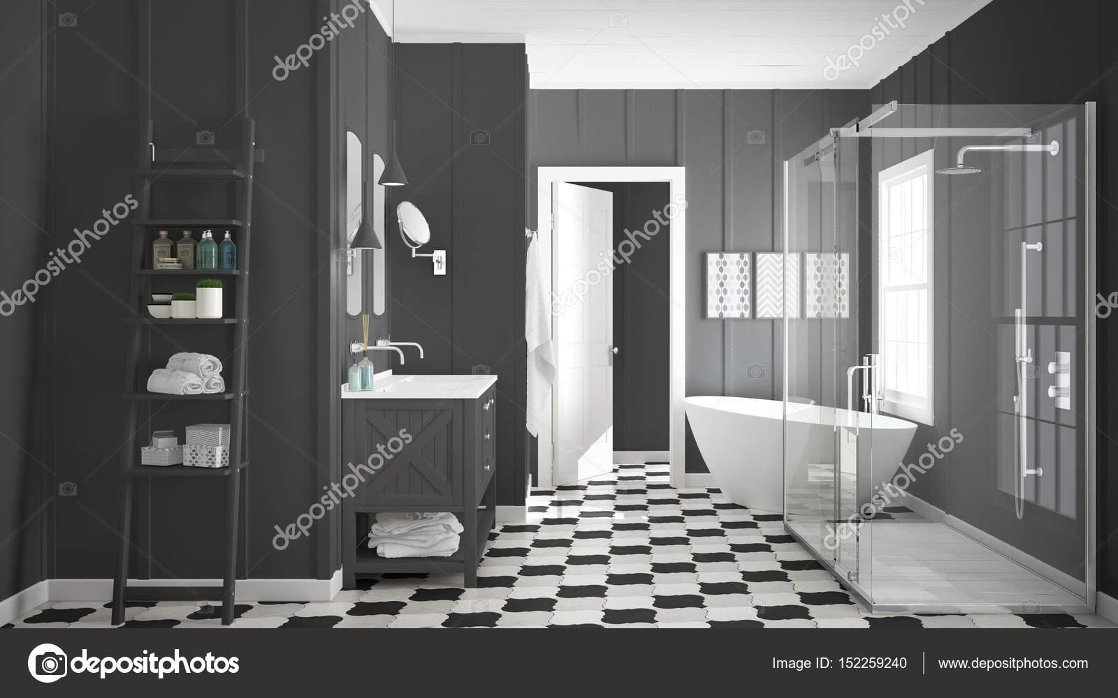 Escandinavo minimalista blanco y gris cuarto de baño, ducha, bañera ...
