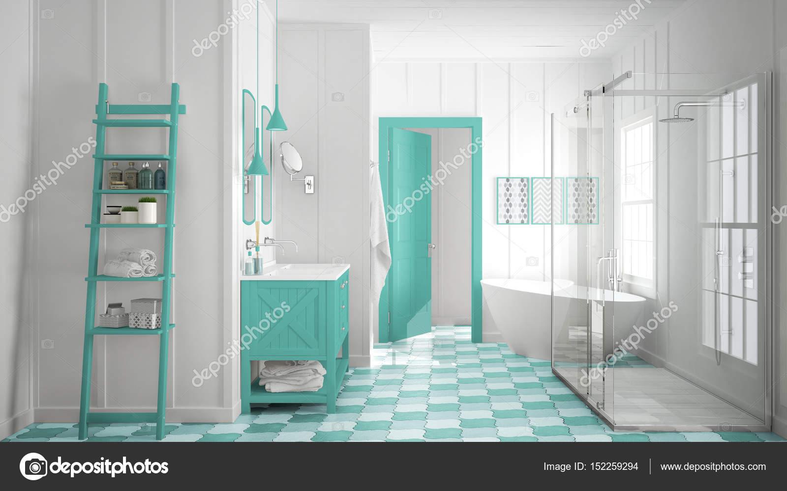 Scandinavian minimalist white and turquoise bathroom, shower, ba ...
