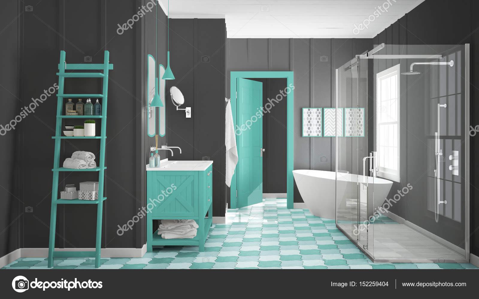 Scandinave minimaliste blanc, gris et turquoise salle de ...