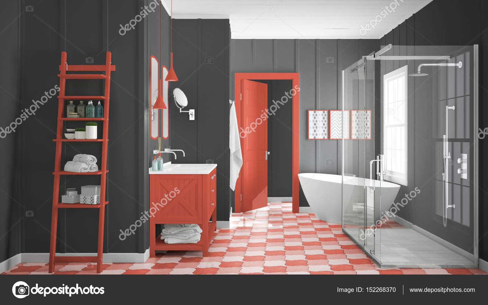 Scandinave minimaliste blanc, gris et rouge salle de bain ...