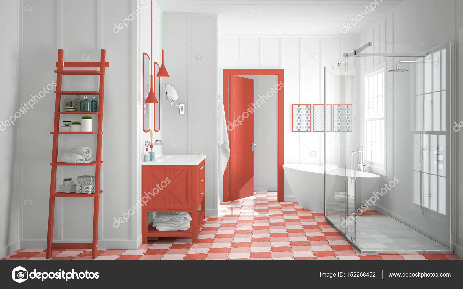 Vasca Da Bagno Rossa : Scandinavo minimalista bianco e rosso bagno doccia vasca da