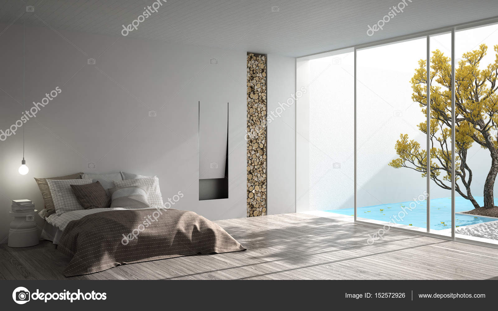 Minimalistische moderne slaapkamer met groot raam met tuin en swi