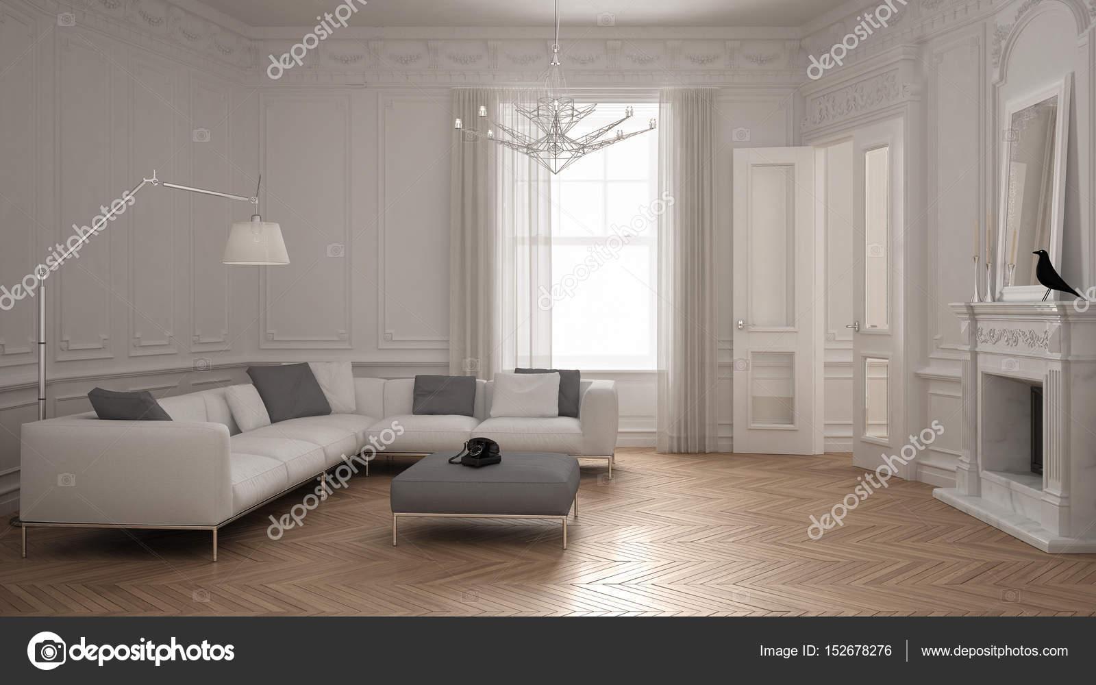 Divano moderno minimalista in salotto classico vintage con firep