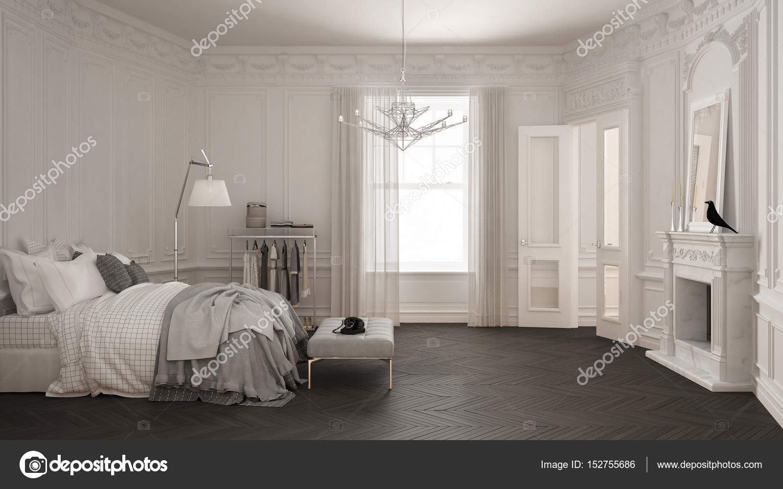 Moderne skandinavische Schlafzimmer im klassischen Vintage ...
