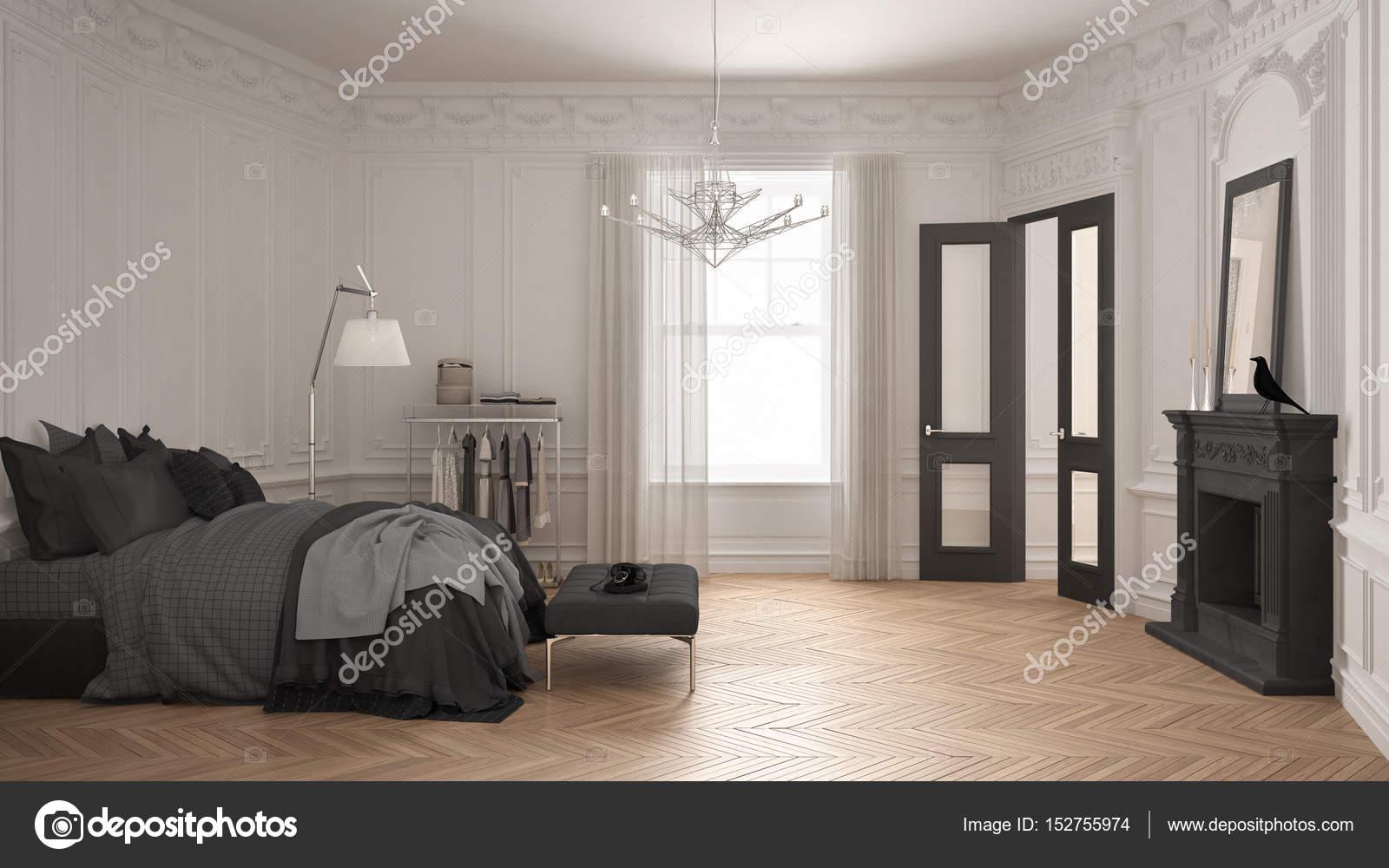 Moderne Scandinavische slaapkamer in klassieke vintage woonkamer met ...