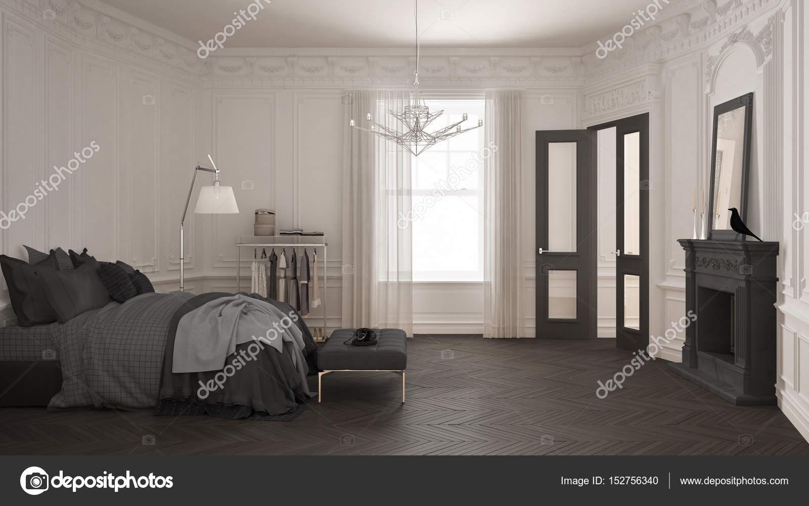 Chambre Scandinave Moderne Classique Vintage Salle De Séjour Avec Cheminée,  Décor Blanc Et Gris Luxe U2014 Image De ...