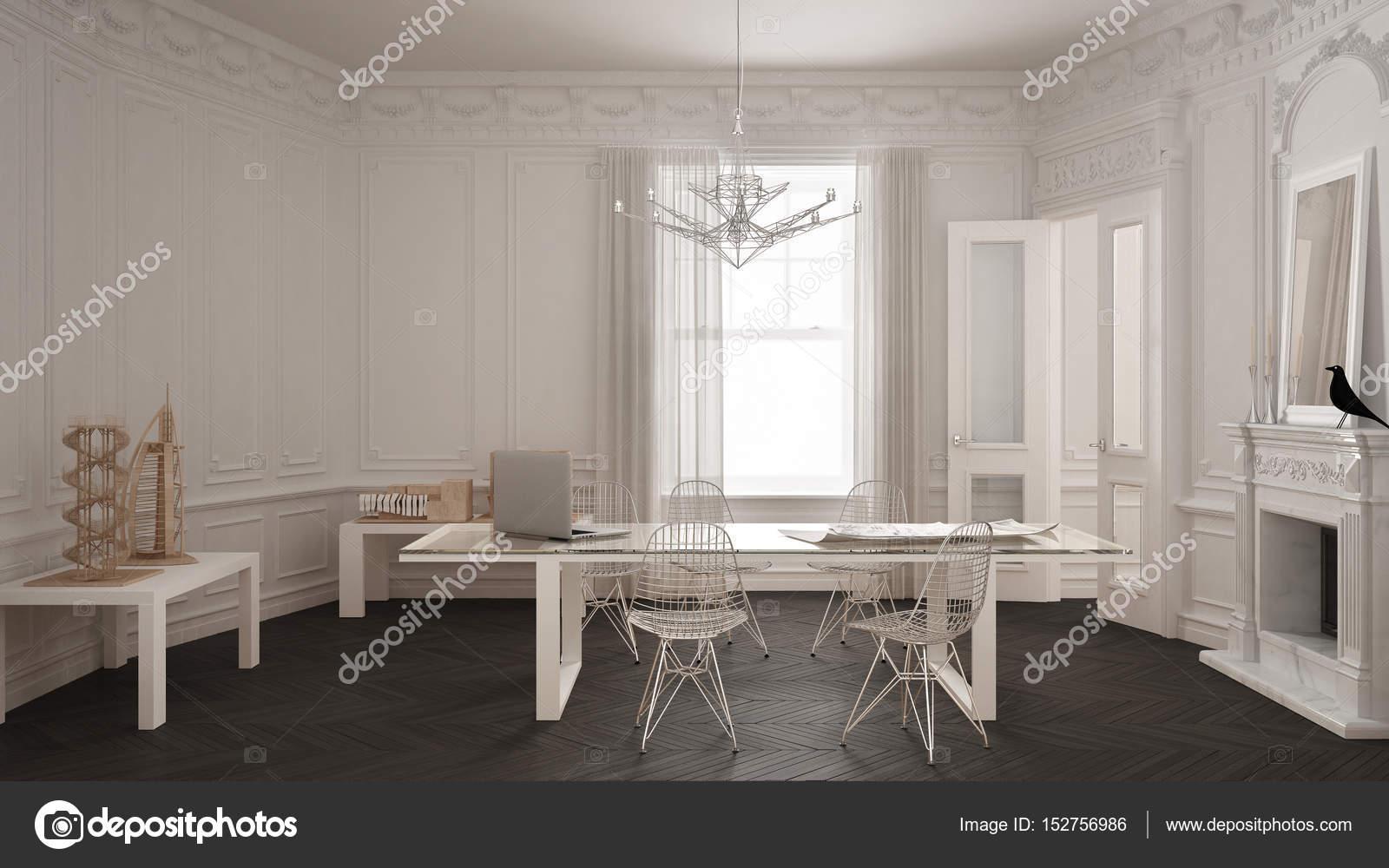 Bureau minimaliste moderne dans une chambre vintage classique avec
