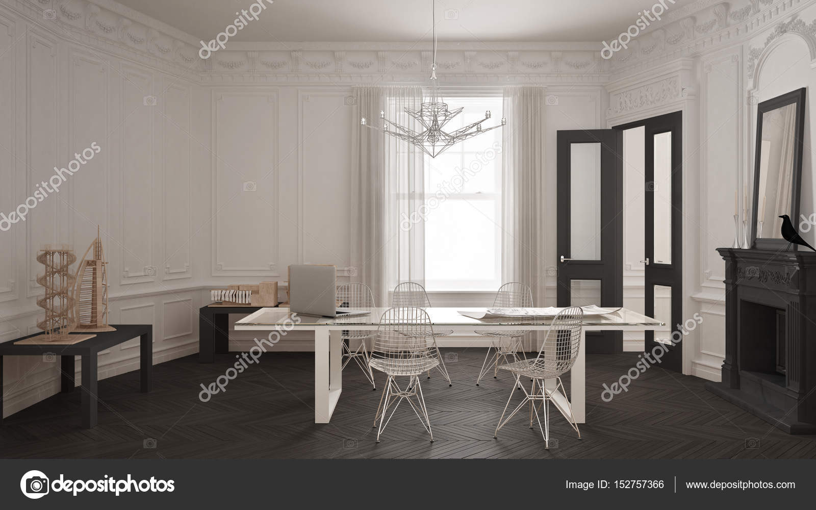 Bureau minimaliste moderne dans une chambre vintage classique avec ...