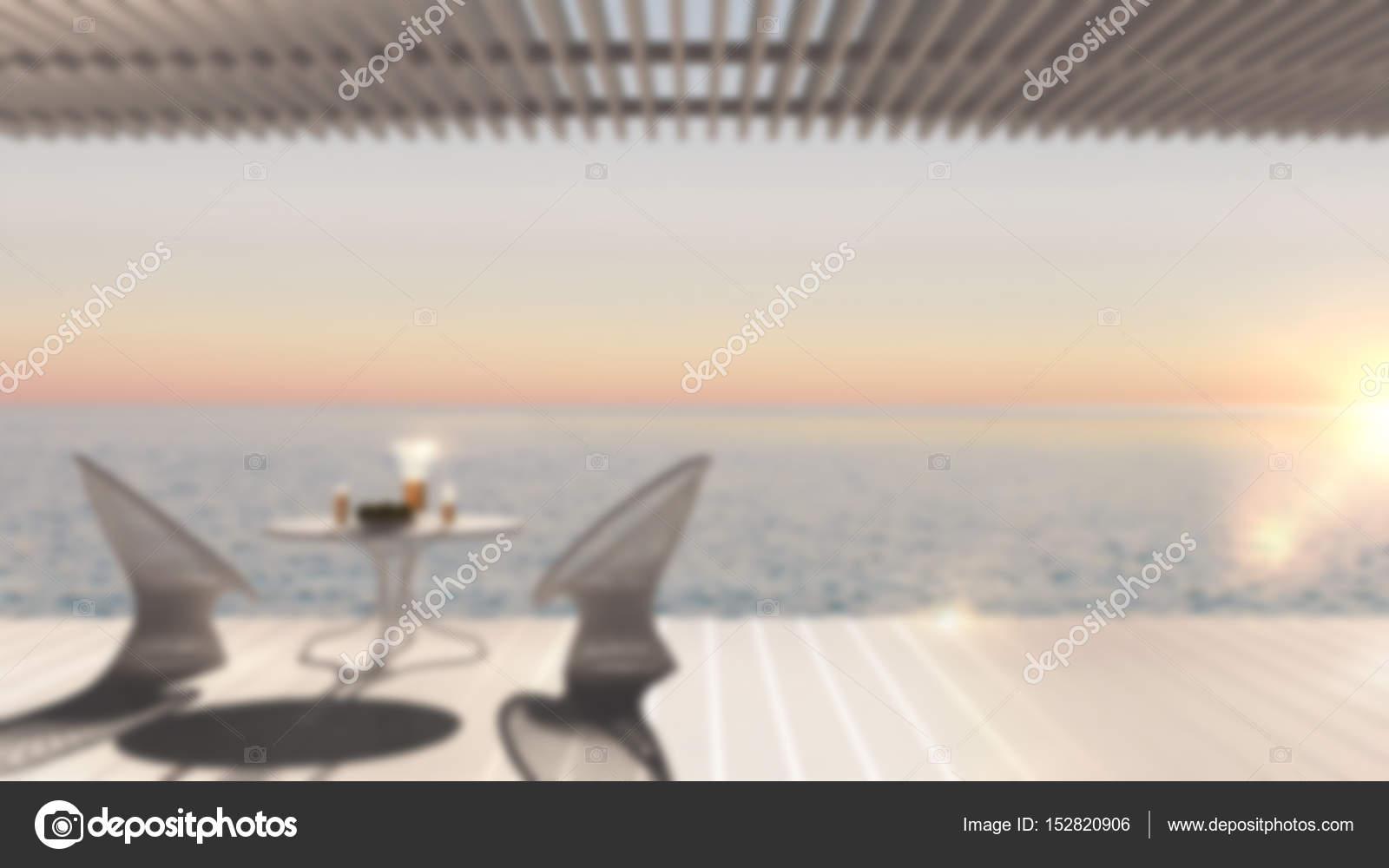 Vervagen de achtergrond interieur minimalistisch modern terras met