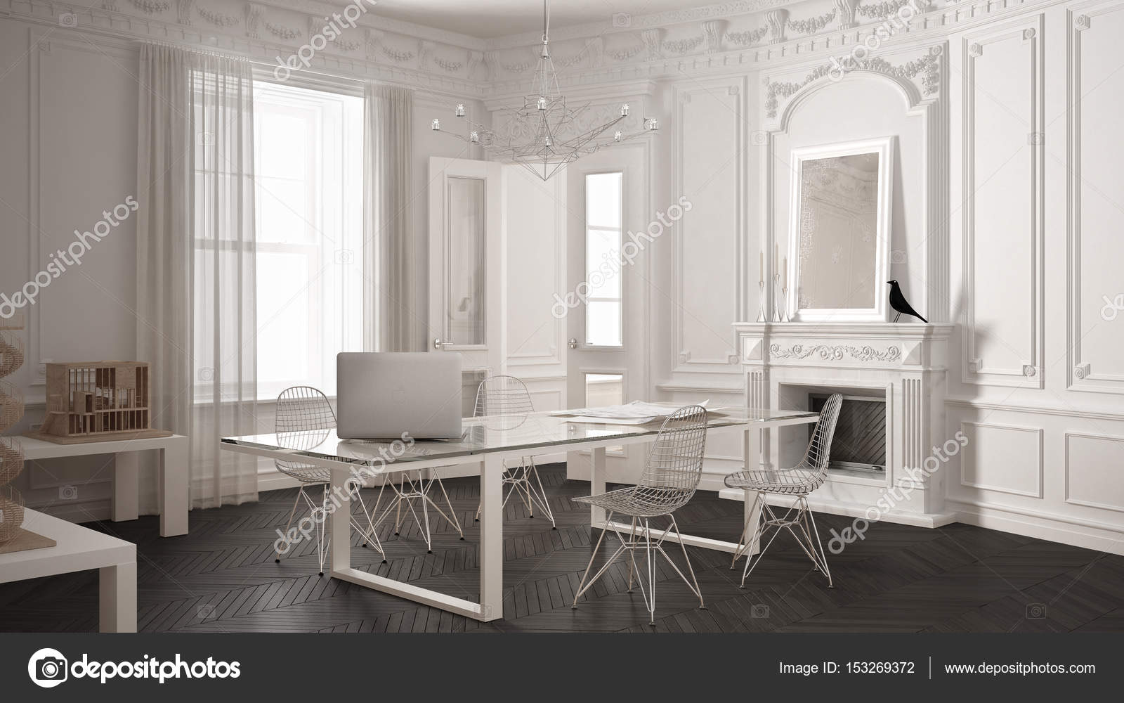 Moderne luxus büro  Moderne minimalistische Büro im klassischen Vintage Zimmer mit Kamin ...