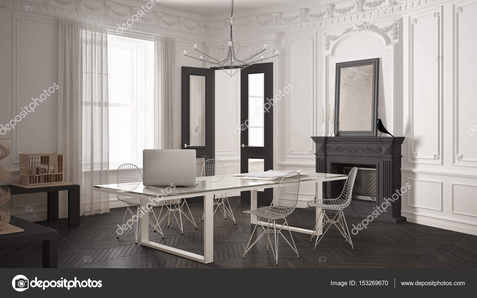 Minimalistisch interieur openhaard d computer graphics van een