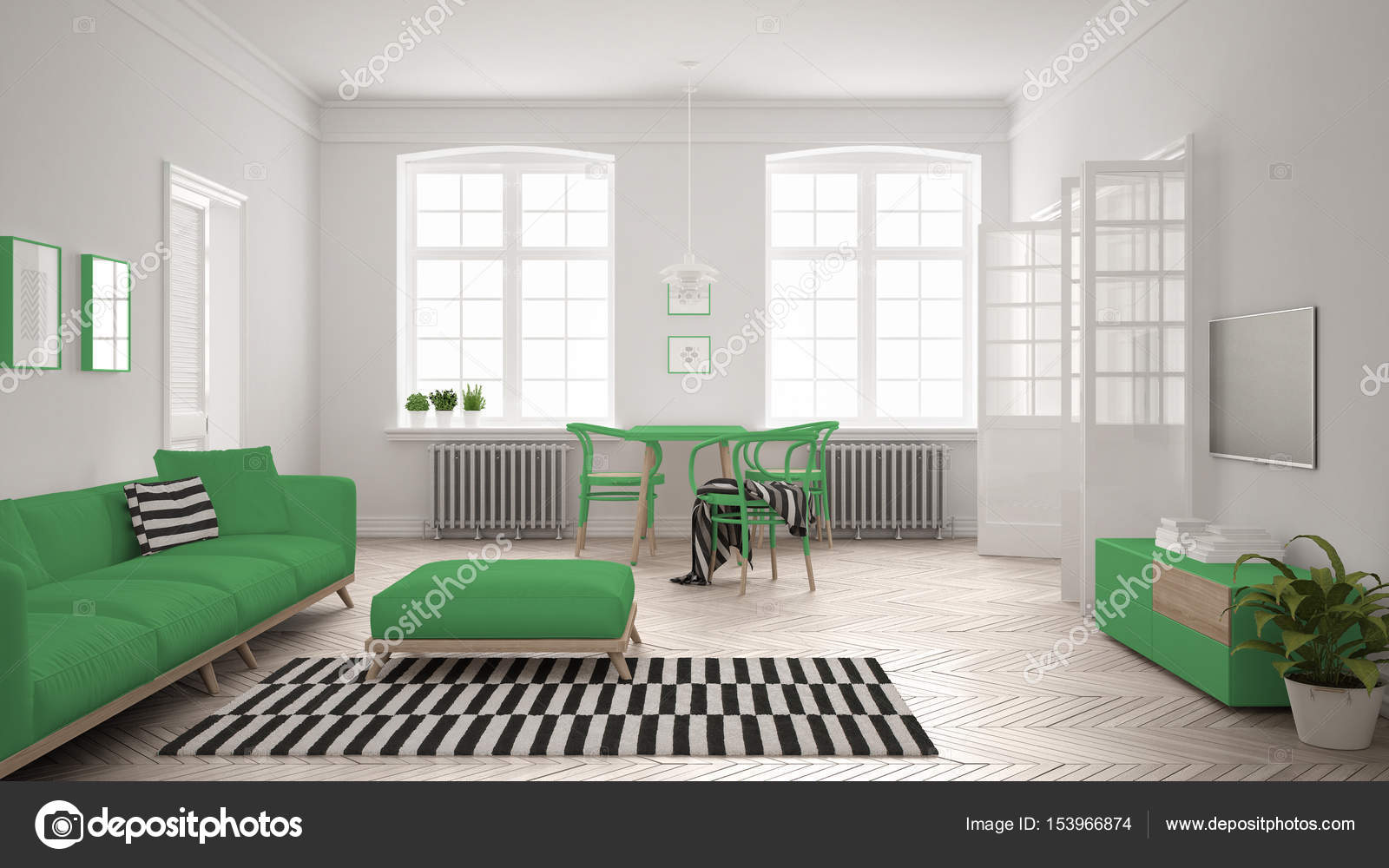Bright minimalist living room with sofa and dining table, scandi ...
