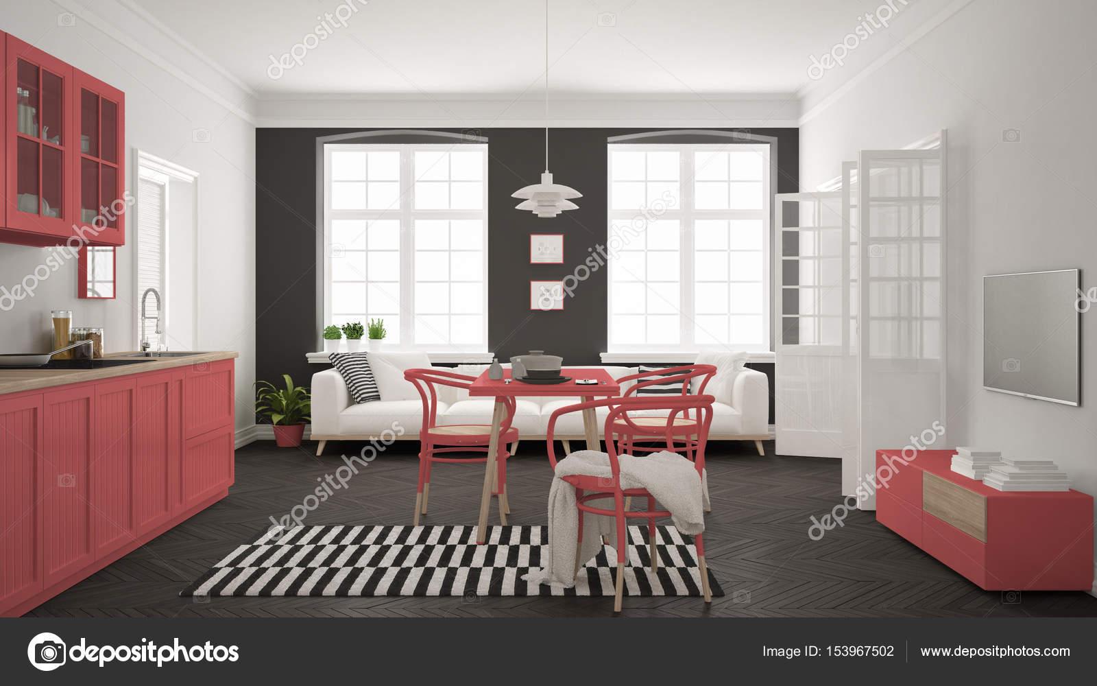 Minimalista E Moderna Cozinha Com Mesa De Jantar E Sala De Estar