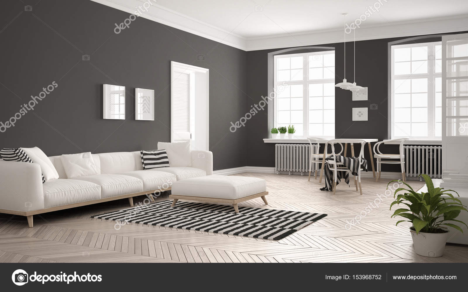 Bright Minimalist Living Room With Sofa And Dining Table