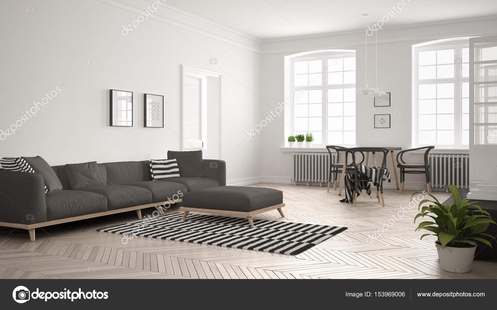Salón minimalista luminoso con sofá y mesa de comedor, anticuados ...