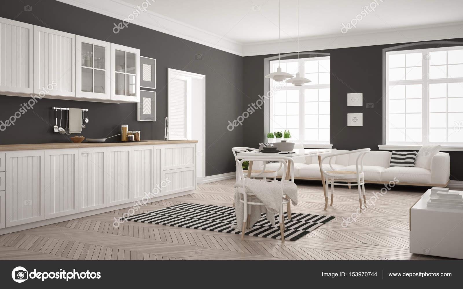Minimalistische moderne keuken met eettafel en salon whi