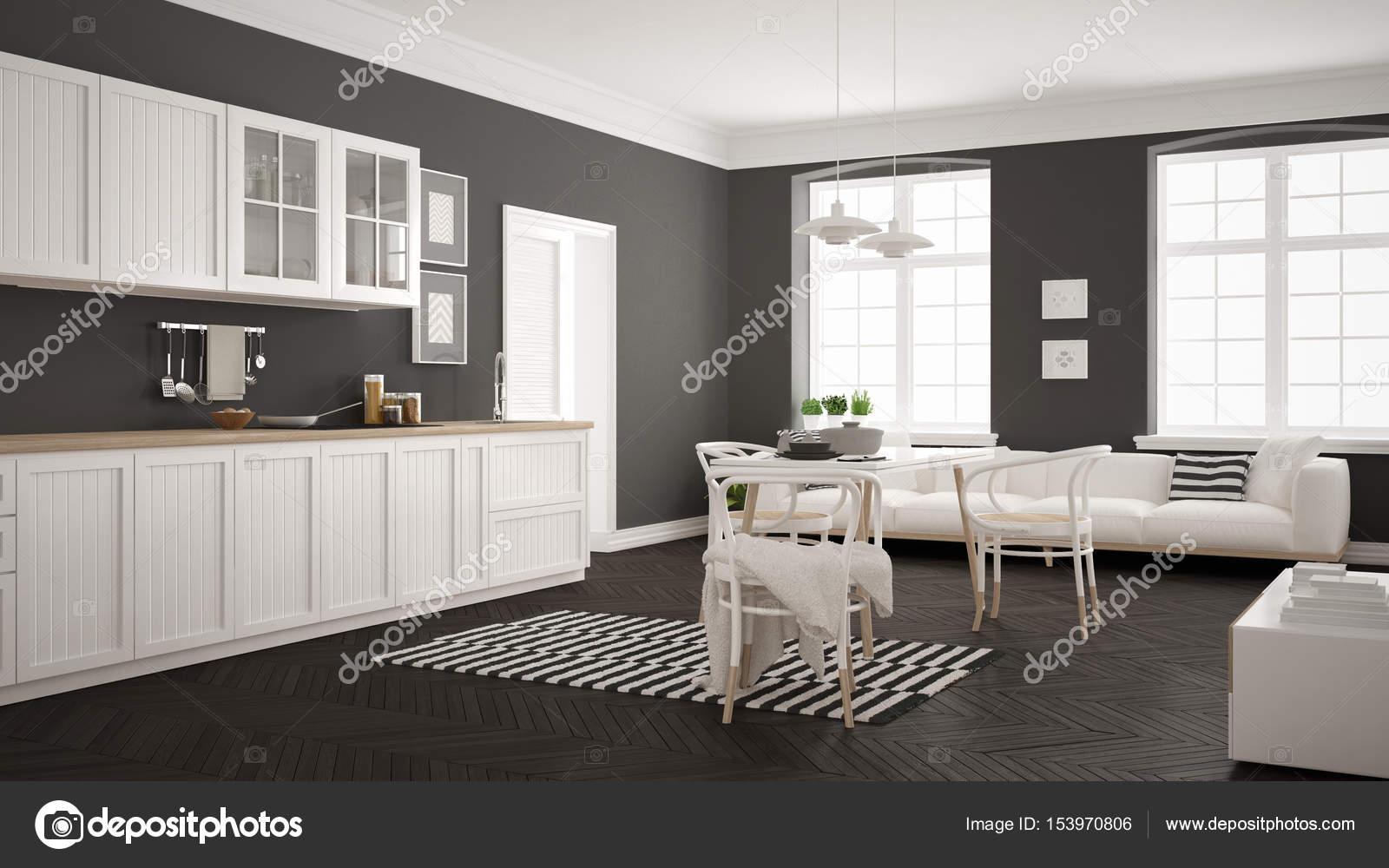 Cocina moderna minimalista con mesa de comedor y sala de estar, whi ...