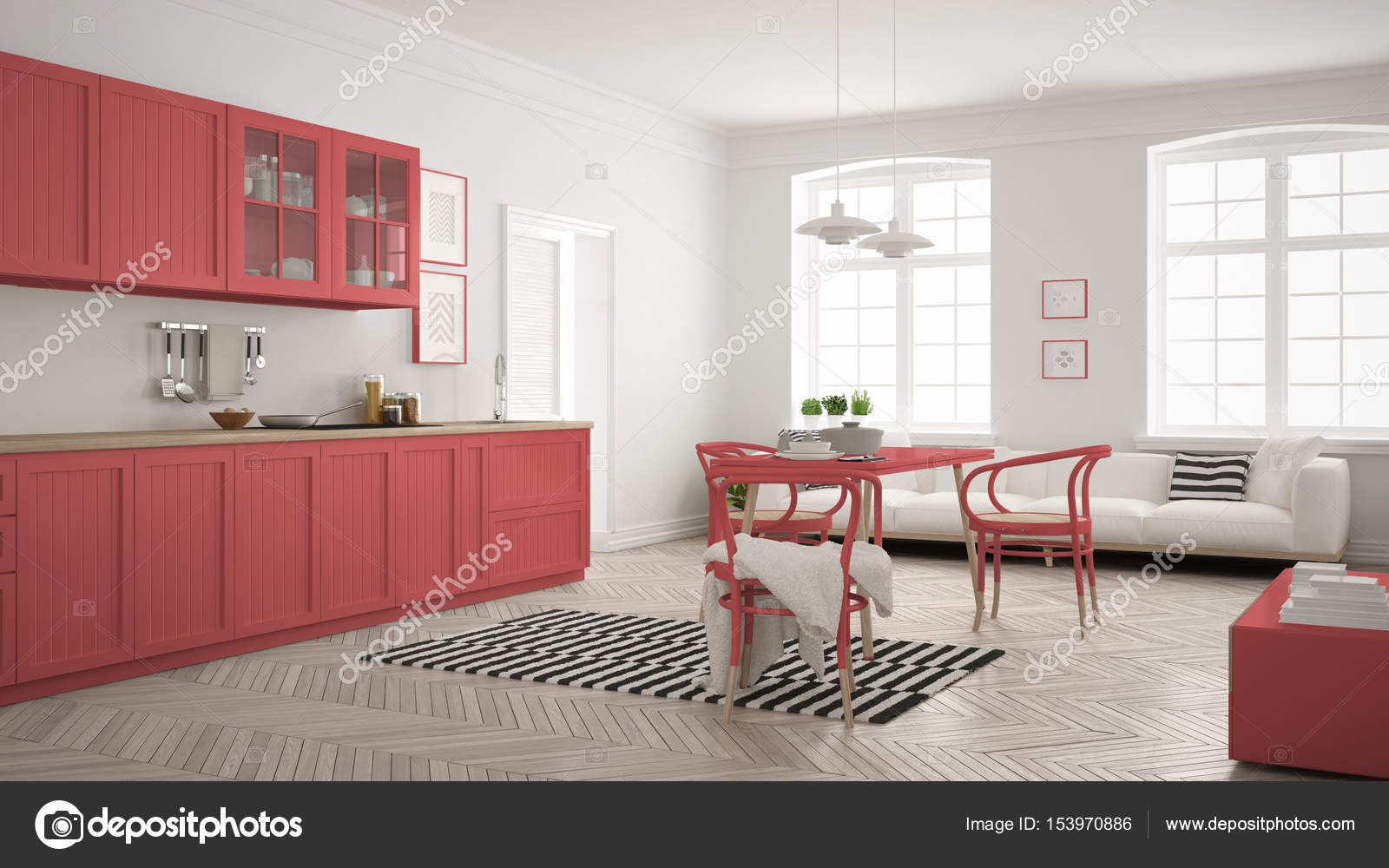 Attraktiv Esstisch Küche Dekoration Von Minimalistische Moderne Küche Mit Und Wohnzimmer, Whi
