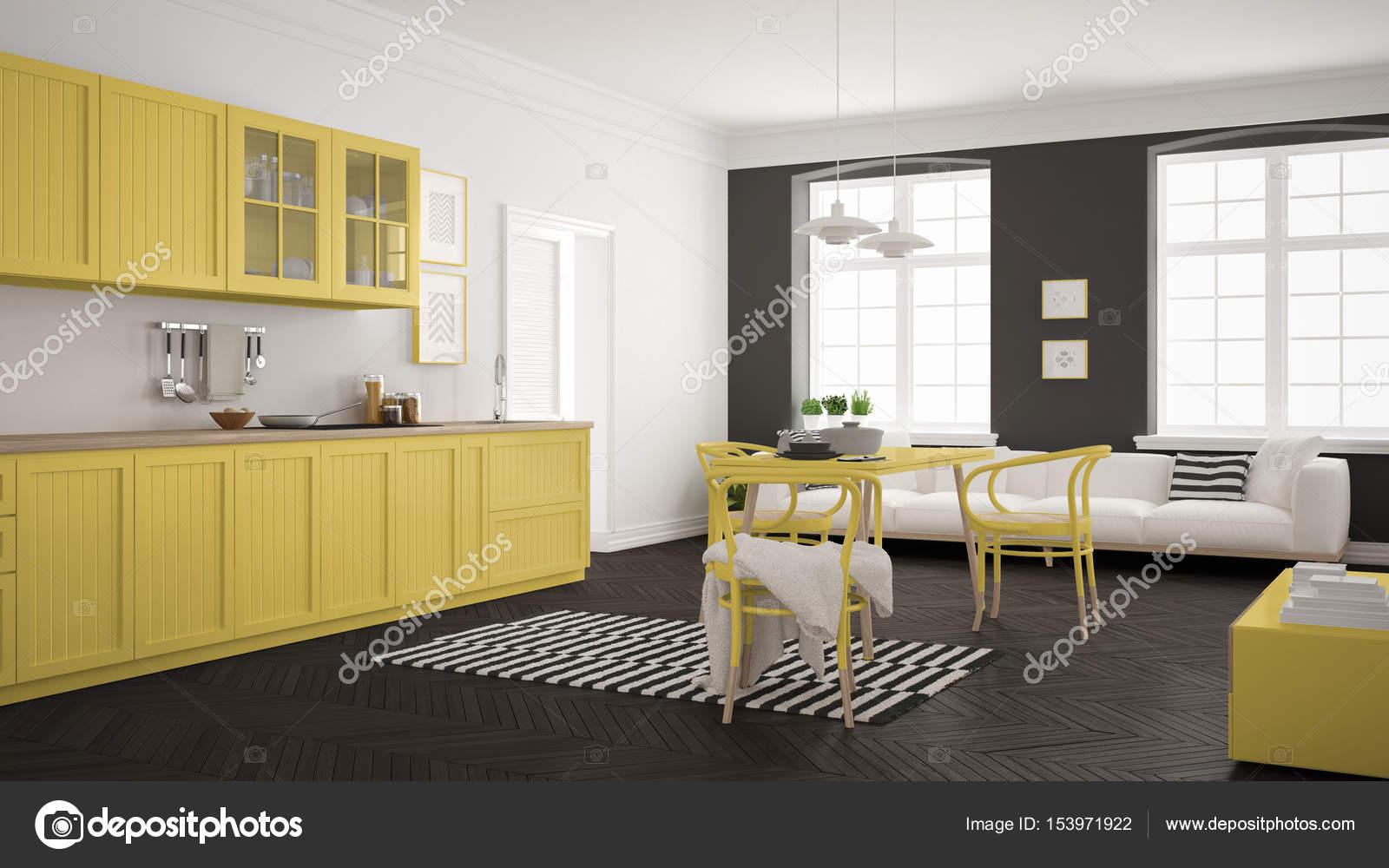 Cucina minimalista moderna con tavolo da pranzo e soggiorno, whi ...