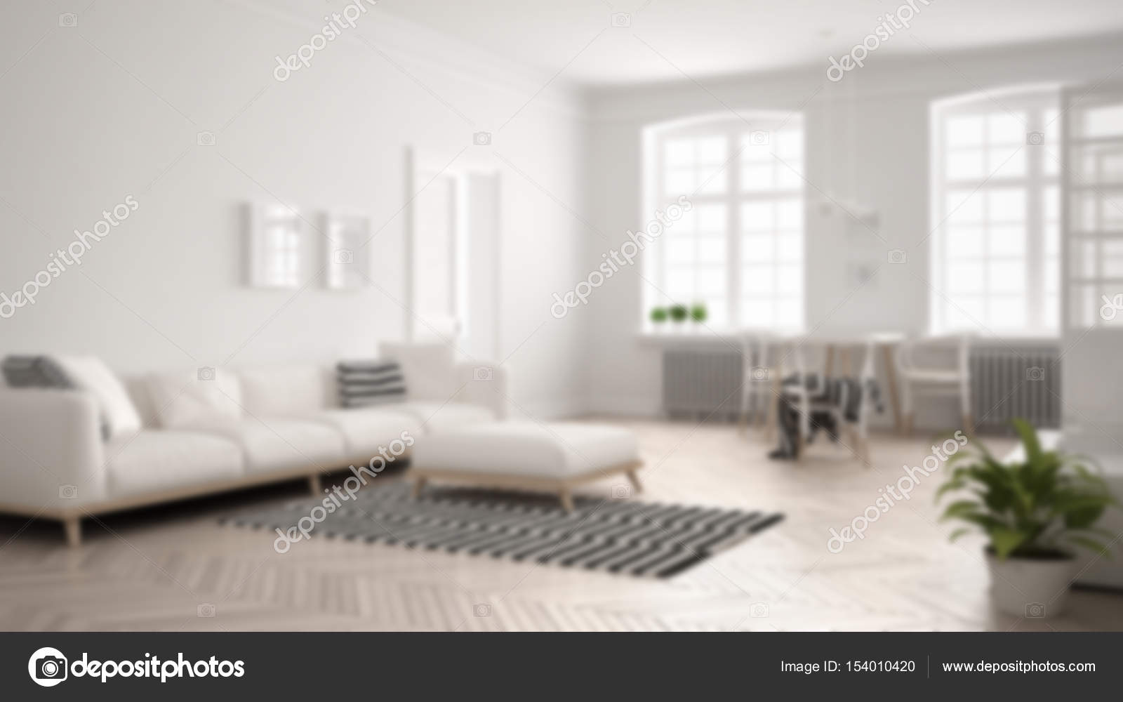 Blur background interior design, bright minimalist living room w ...