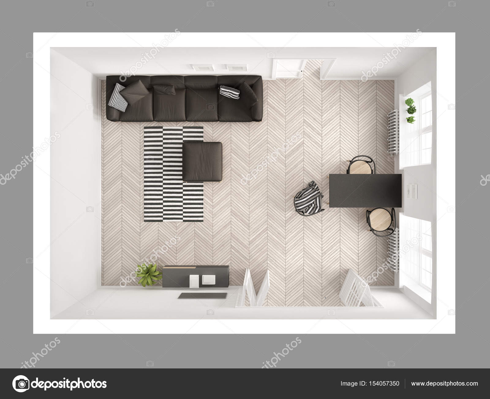 Luminoso soggiorno minimalista con divano e tavolo da for Soggiorno minimalista