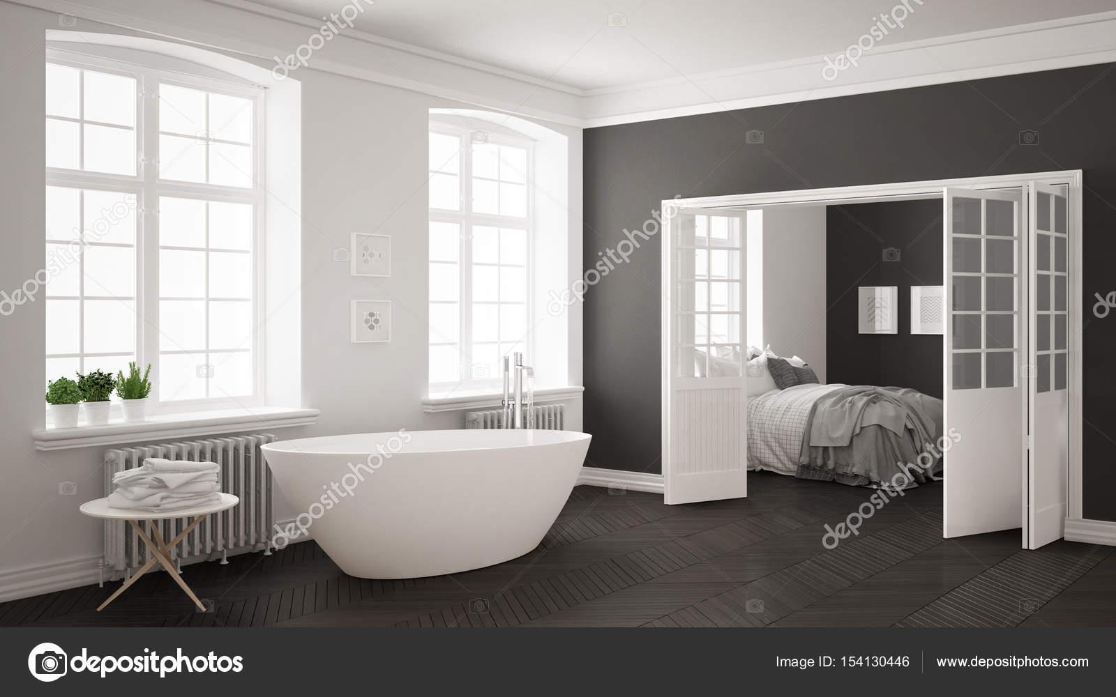 Camera Da Letto Bianco E Grigio : Da bagno scandinavo minimalista di bianco e grigio con camera da