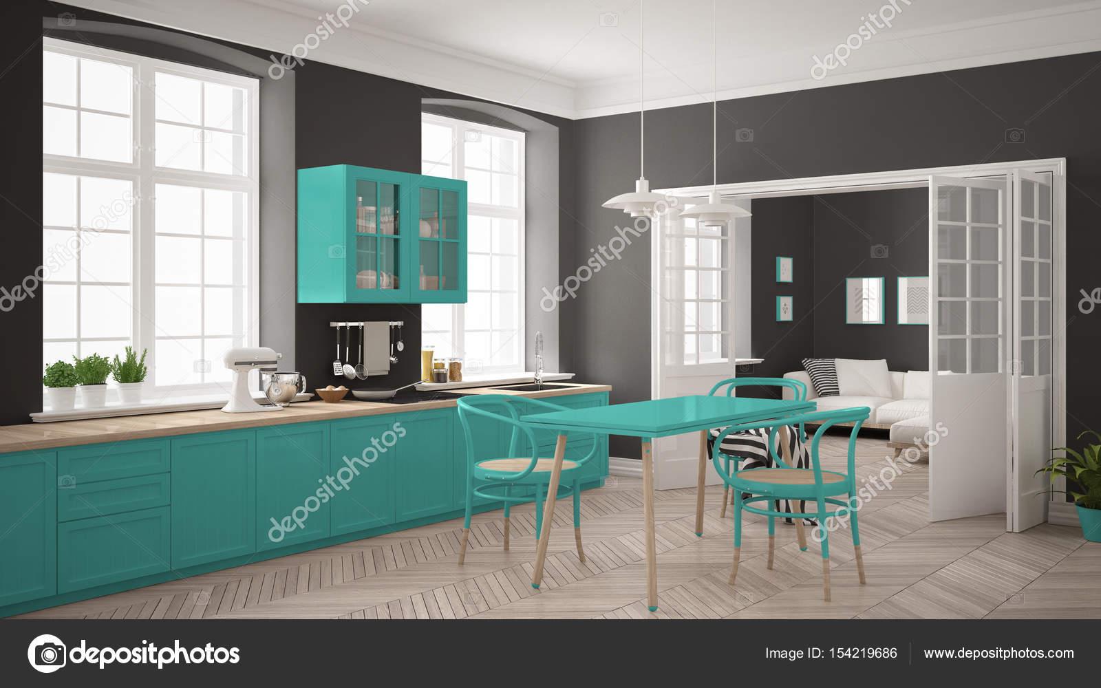 Cucina bianca scandinavo minimalista con soggiorno nel ba u2014 foto