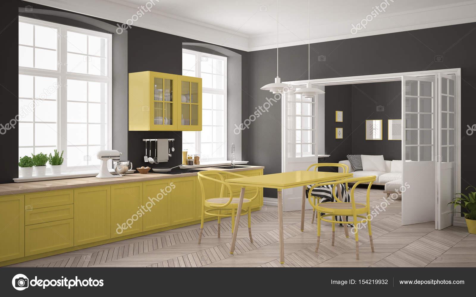 Minimalistische scandinavische witte keuken met woonkamer in de ba