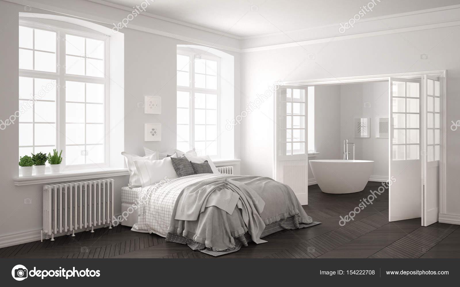 Minimalistische Scandinavische wit slaapkamer met badkamer in de ...