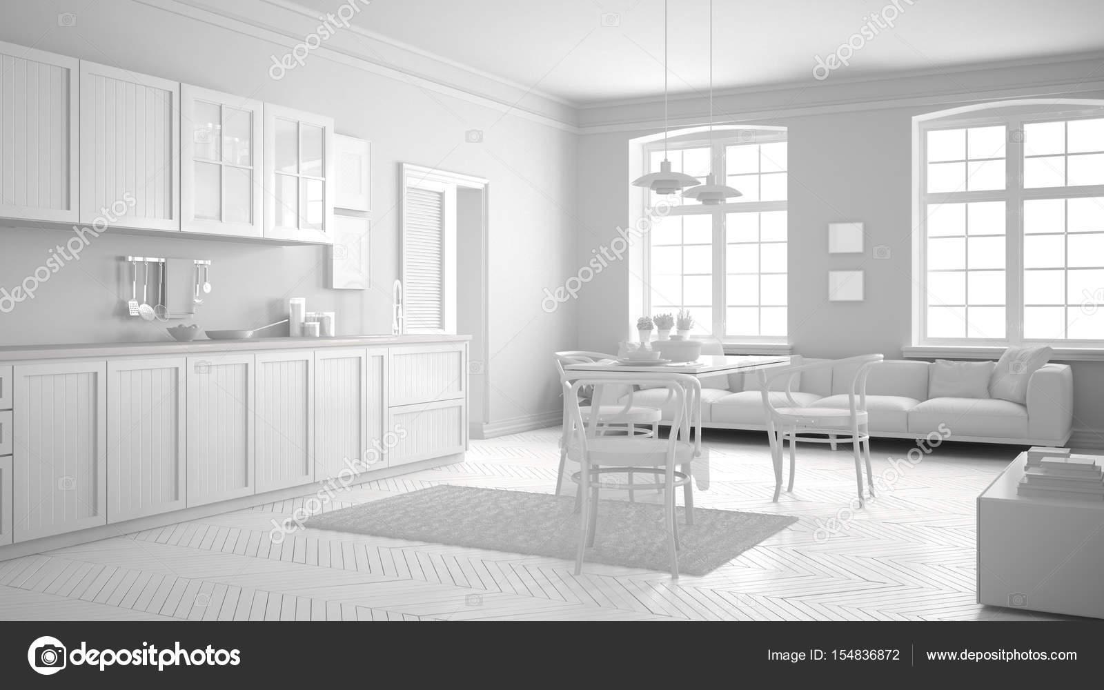 Totale witte scandinavische keuken minimalistisch interieur