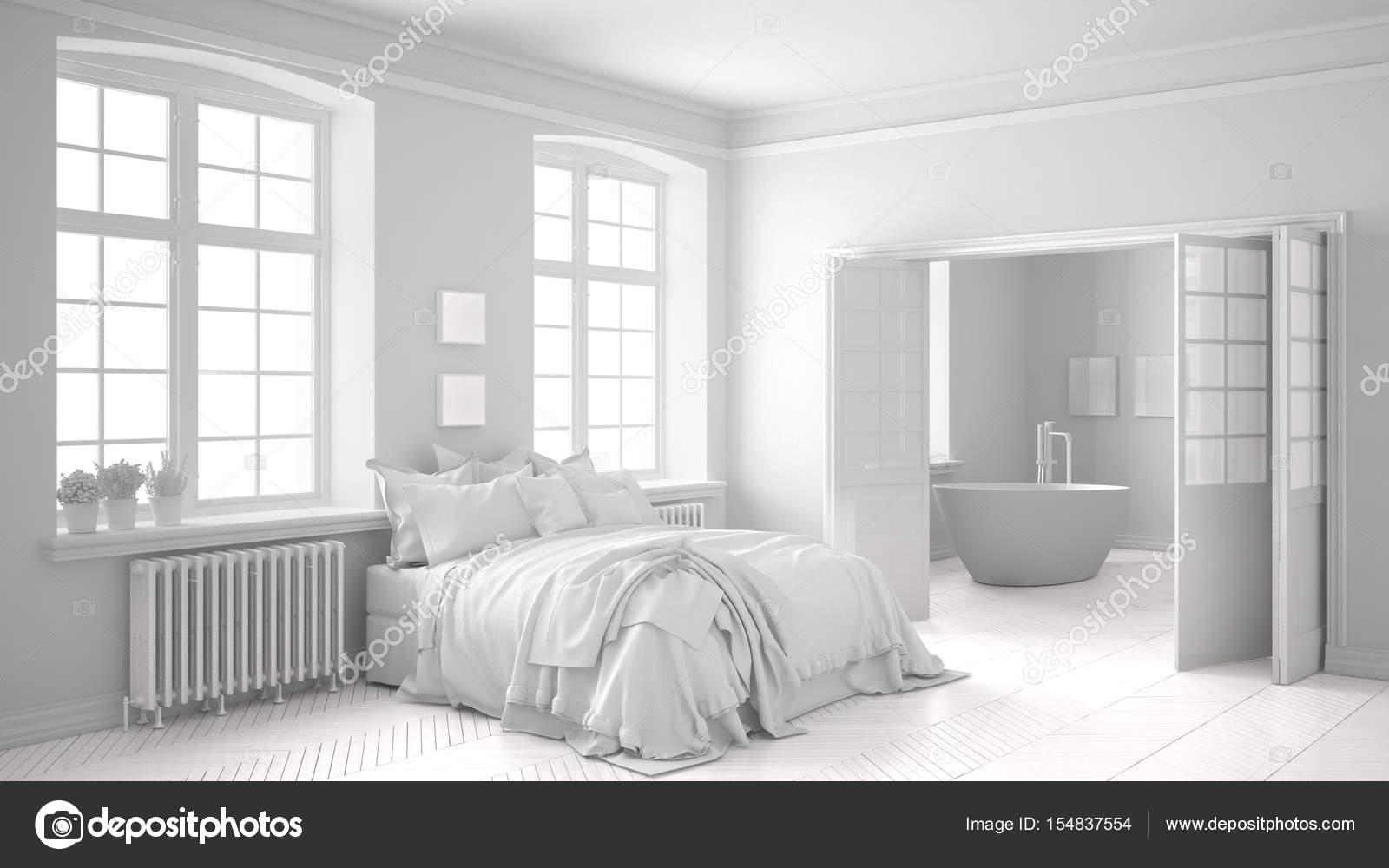 Total Blanc Scandinave Chambre à Coucher Avec Salle De Bain Dans Le Fond,  Décoration Minimaliste U2014 Image De ...