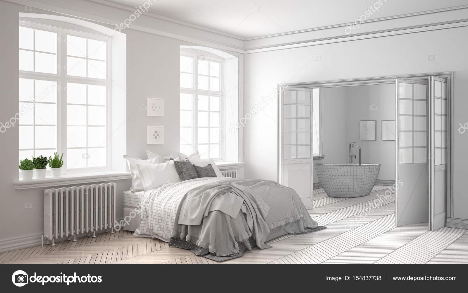 Progetto incompiuto di minimalista bianco camera da letto ...