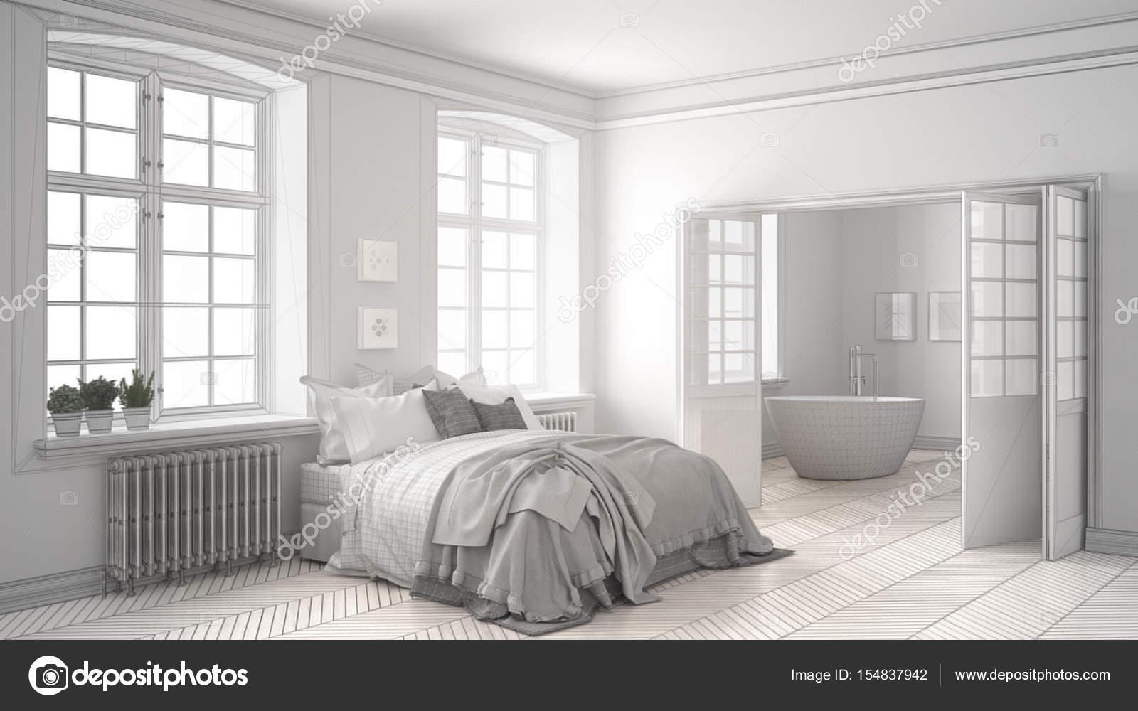Progetto incompiuto di minimalista bianco camera da letto con bagno ...