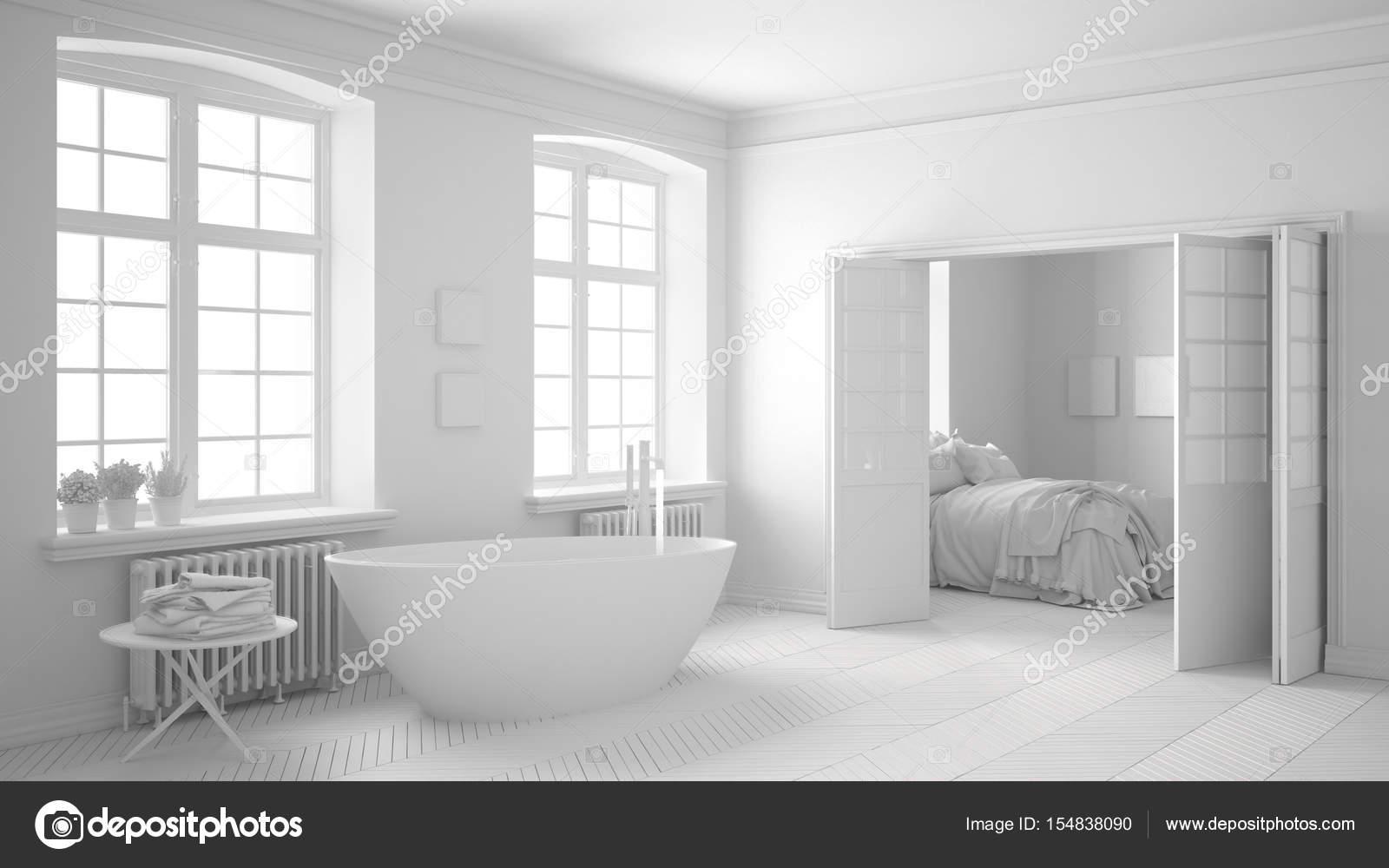 Superieur Total Blanc Salle De Bains Scandinave Avec Chambre à Coucher Dans Le Fond,  Décoration Minimaliste U2014 Image De ...