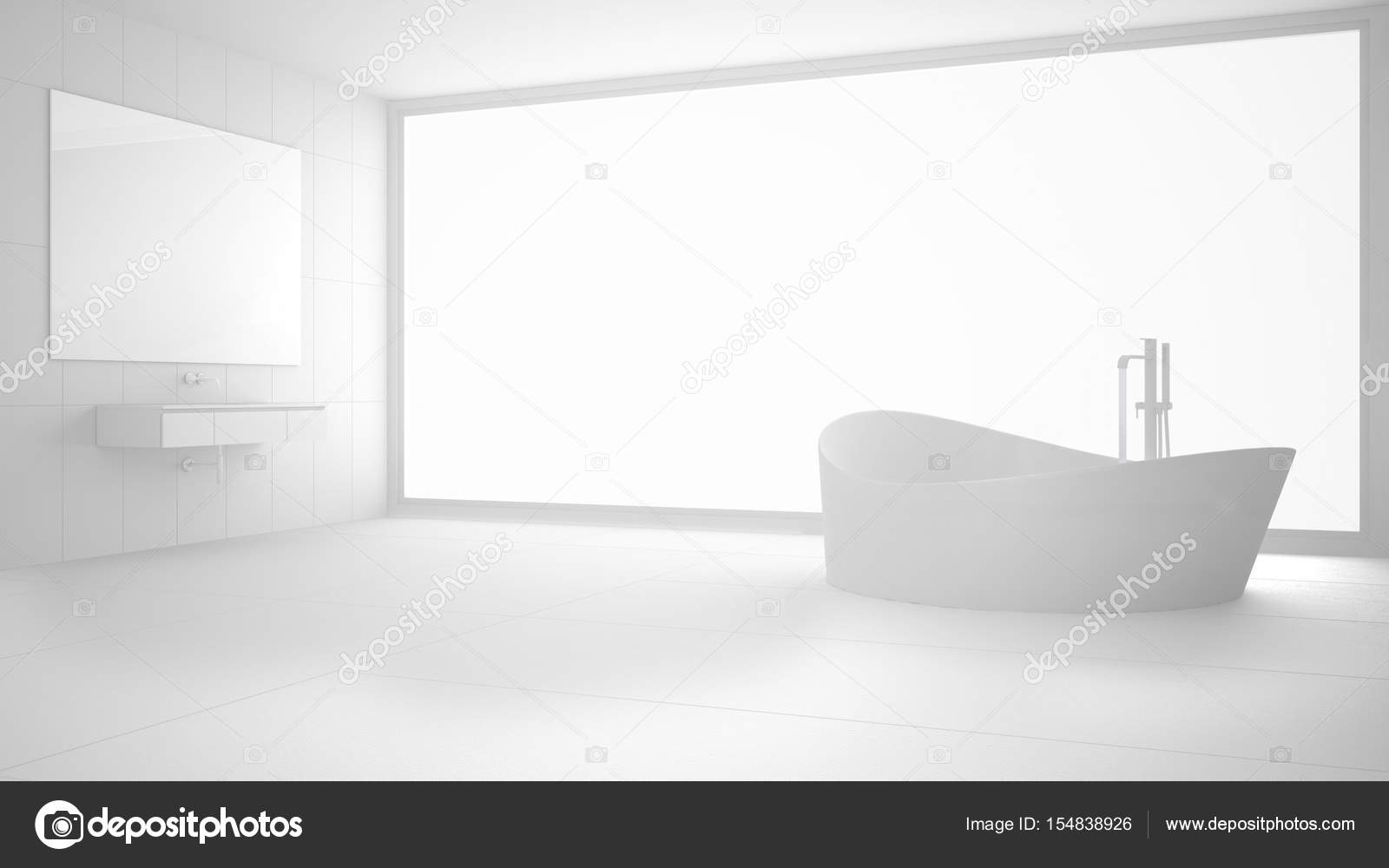 Totale witte moderne badkamer met groot raam minimalistisch