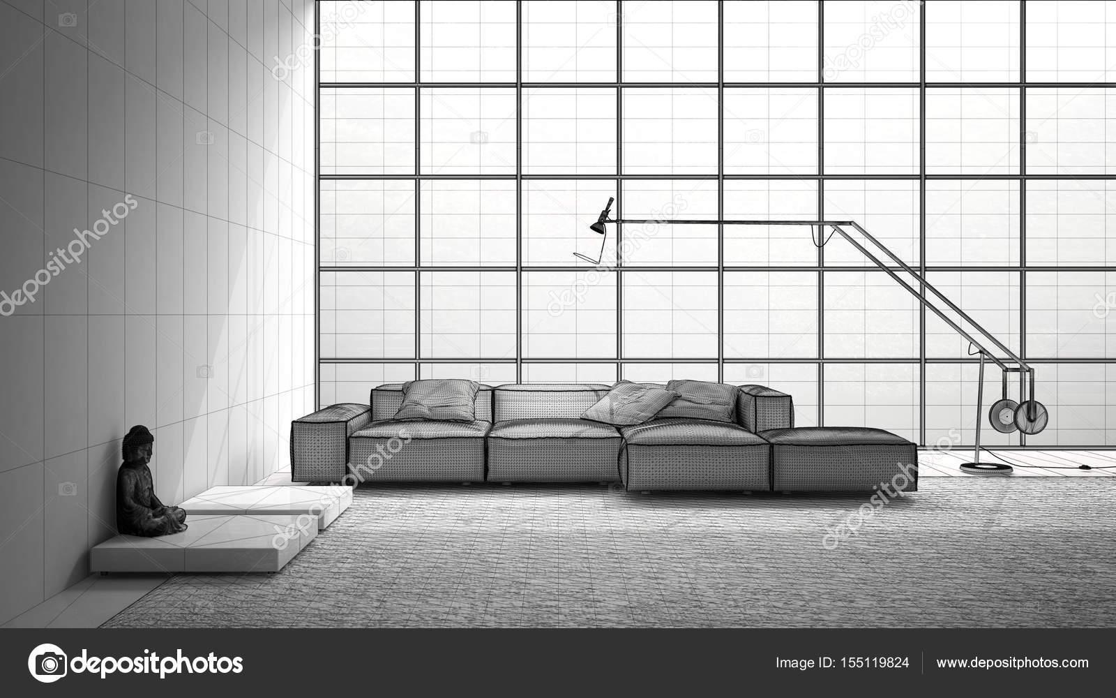 Unvollendete Projekt Der Moderne Wohnzimmer Mit Sofa Teppich Und