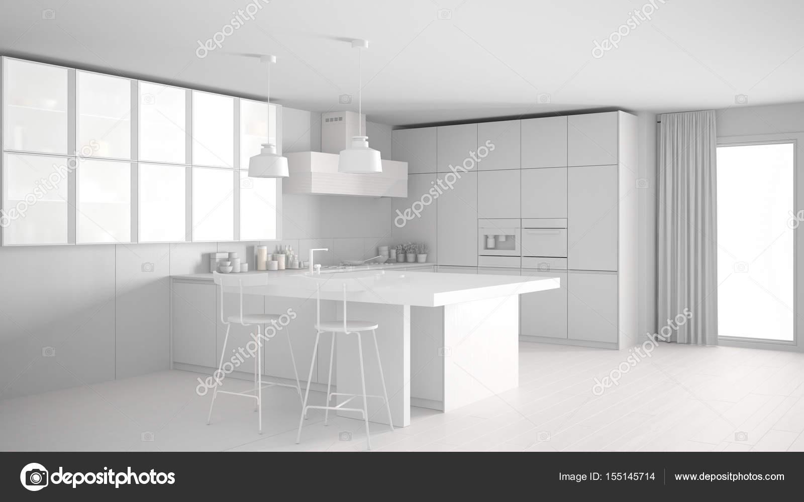 Cocina moderna blanca total, diseño interior minimalista — Fotos de ...