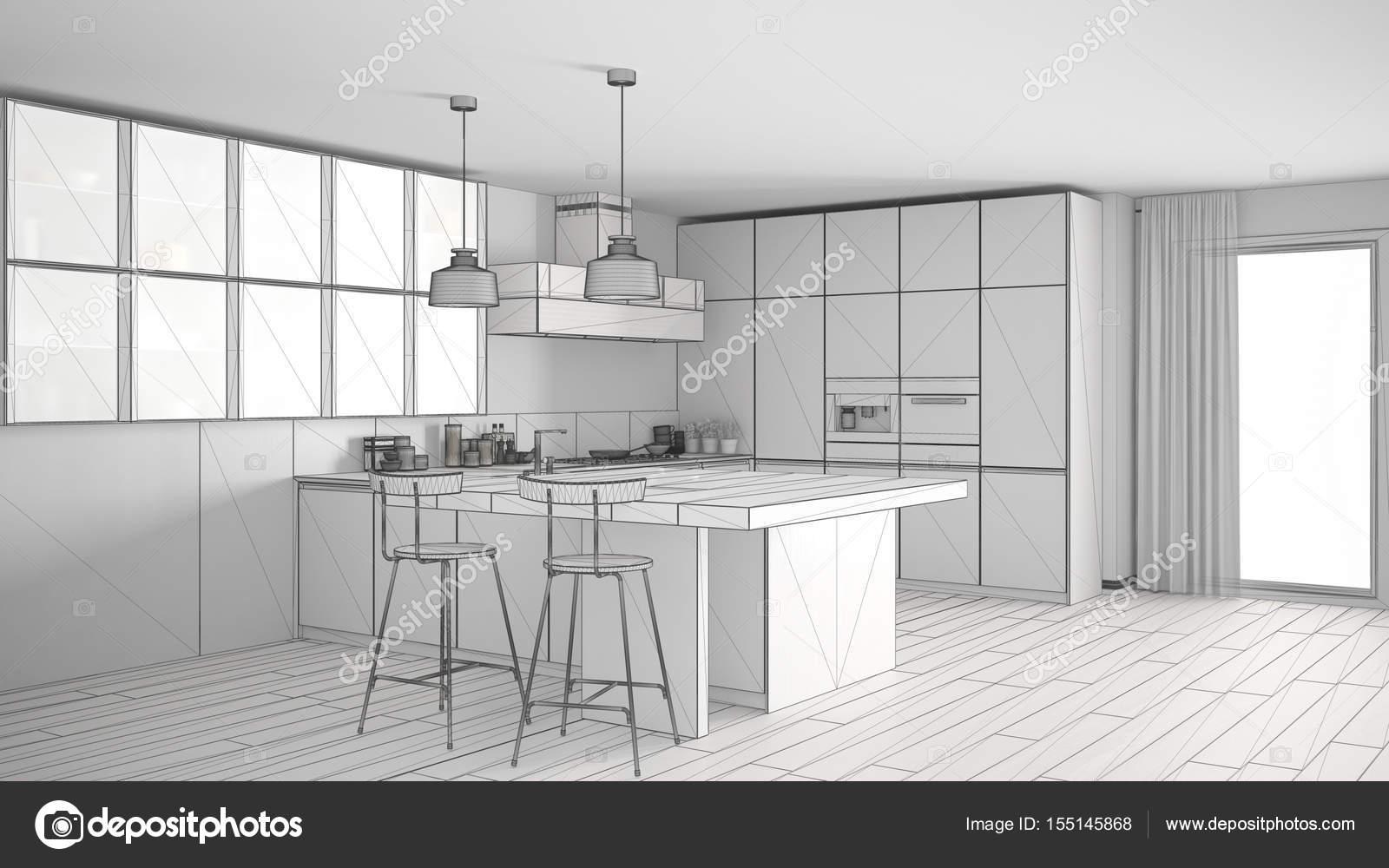 Unvollendete Projekt Der Moderne Kuche Mit Grossen Fenster Skizze Abs Stockfoto