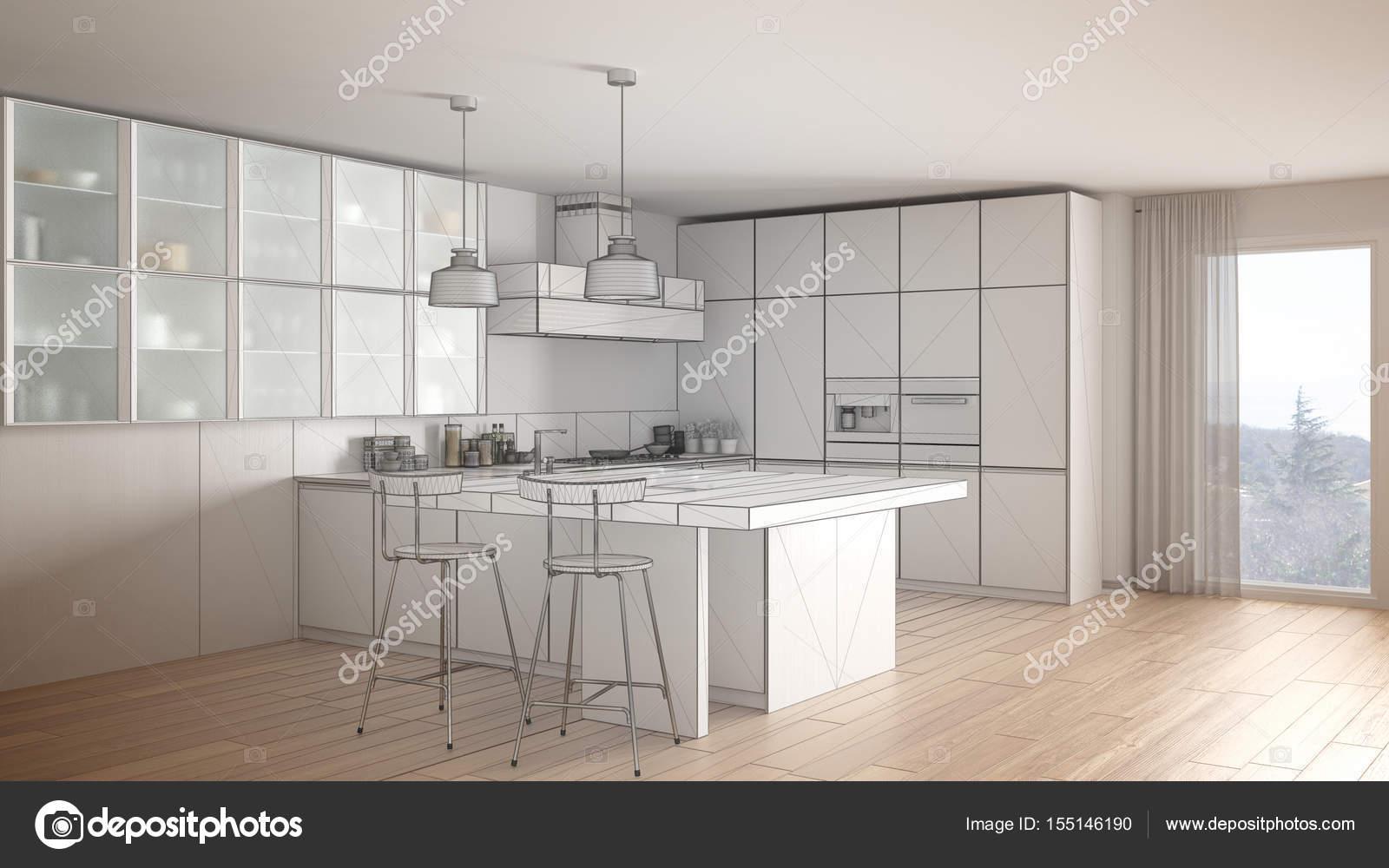 Progetto incompiuto di cucina moderna con grande finestra, schizzo ...