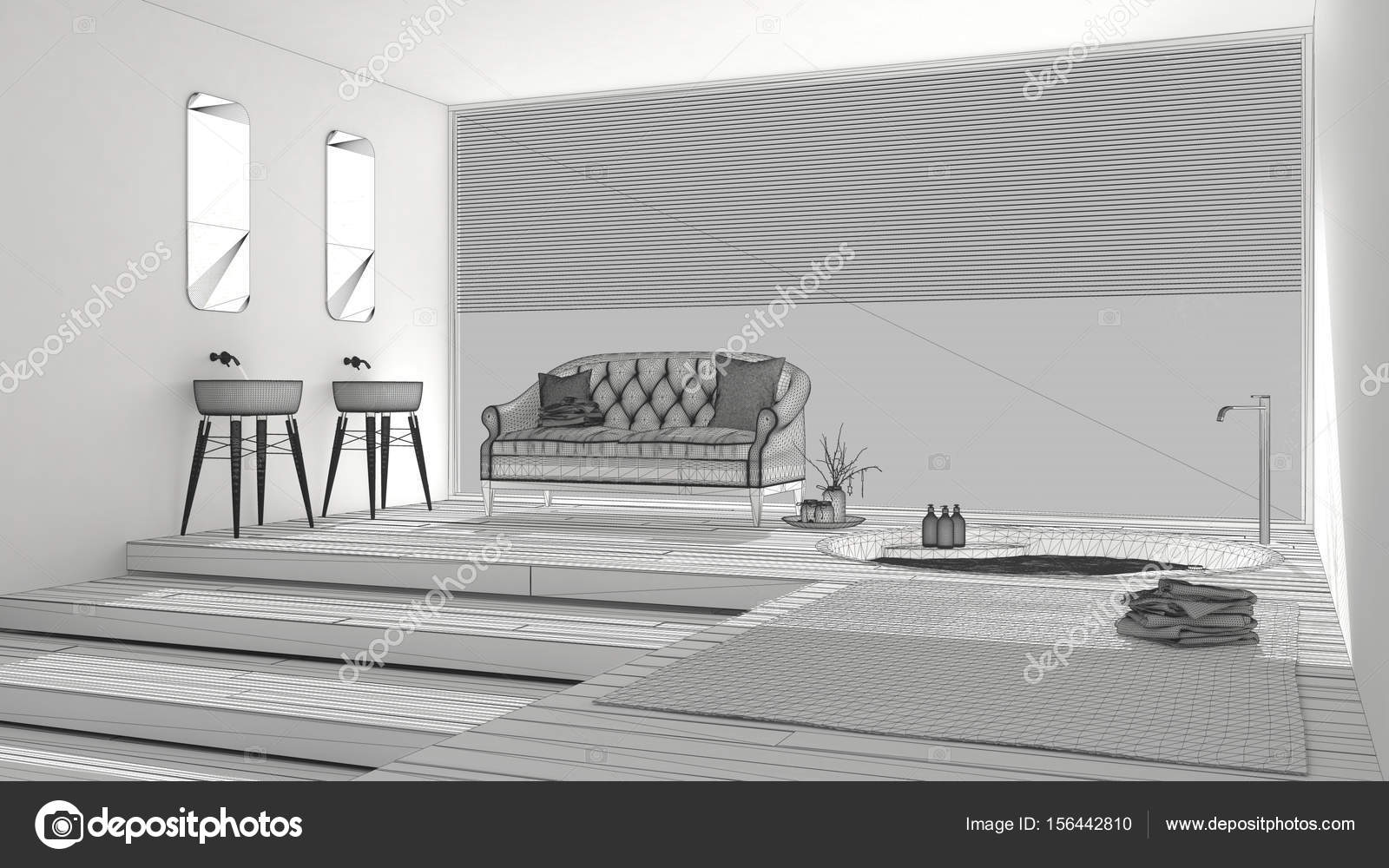 Progetto incompiuto di bagno classico con grande finestra disegnare