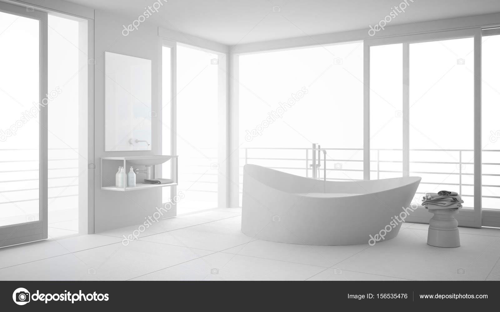 Lieblich Total Weiße Minimalistischen Badezimmer Mit Großer Badewanne Und  Panorama Fenster, Modernes Interior Design U2014 Foto Von ArchiVIz